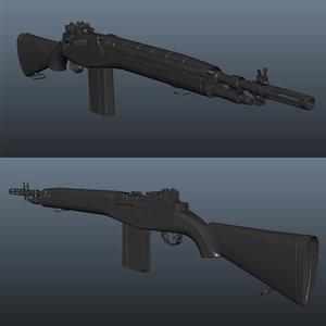 3d model realistic scan m14 assault rifle