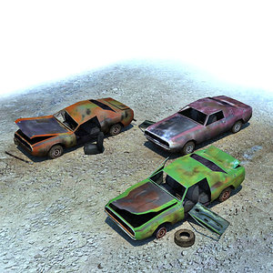 3d model of ready wrecked cars