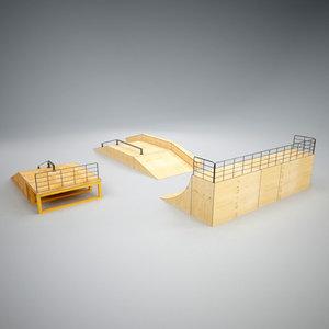 3d skatepark ramp vertices model