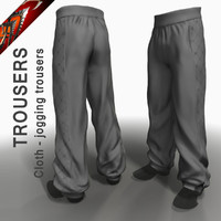 cloth jogging trousers 3d model