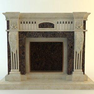 3d fireplace materials model