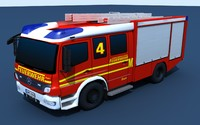 Mercedes Atego Fire truck (german) Low Poly