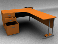 Modern Desk Low and High Poly models
