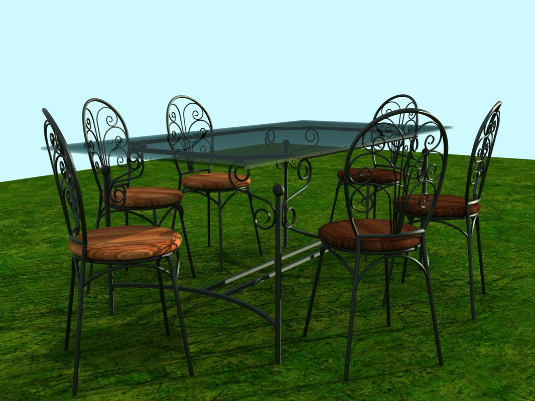 wrought iron garden furniture 3d model. Black Bedroom Furniture Sets. Home Design Ideas