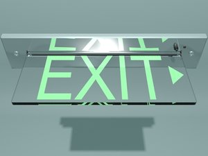 3d glass exit sign model