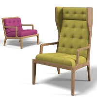 James hardwood wingback chair and tufted armchair