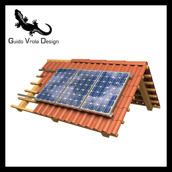 3d roof solar panels model