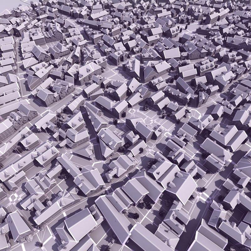 3d model medieval town modeled
