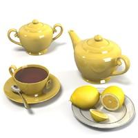 Tea composition teapot cup tabag lemop plate dish set