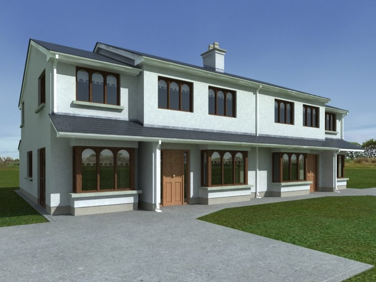 semi-detached house render 3d model