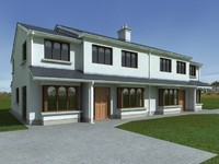 semi-detached house render 3d model