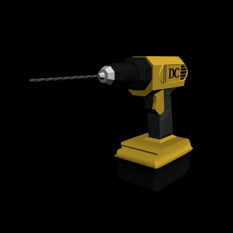 free power drill dc 3d model