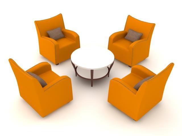 3ds max chair armchair set