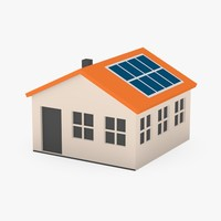 3d cartoon house solar panels