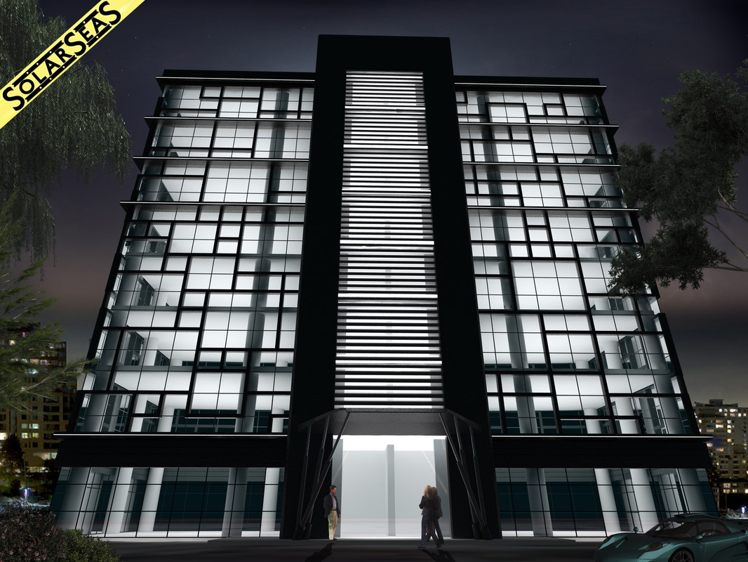 modern office building facade 3d max. Black Bedroom Furniture Sets. Home Design Ideas