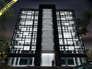 modern office building facade 3d max