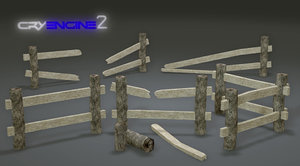 free pack wooden fences modular 3d model