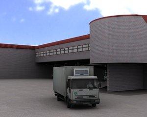 3d model truck unloading area
