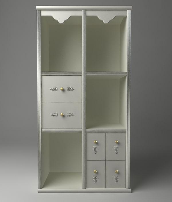 bookshelves storage details 3d model