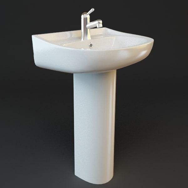 pedestal sink bathroom 3d model