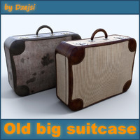 3d model old big suitcase