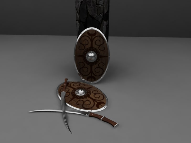 rhomphaia romphaia swords shield 3d ma
