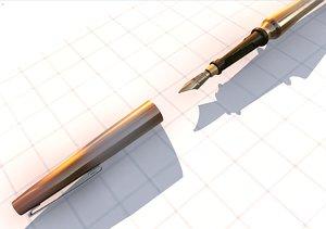 3d dxf fountain pen