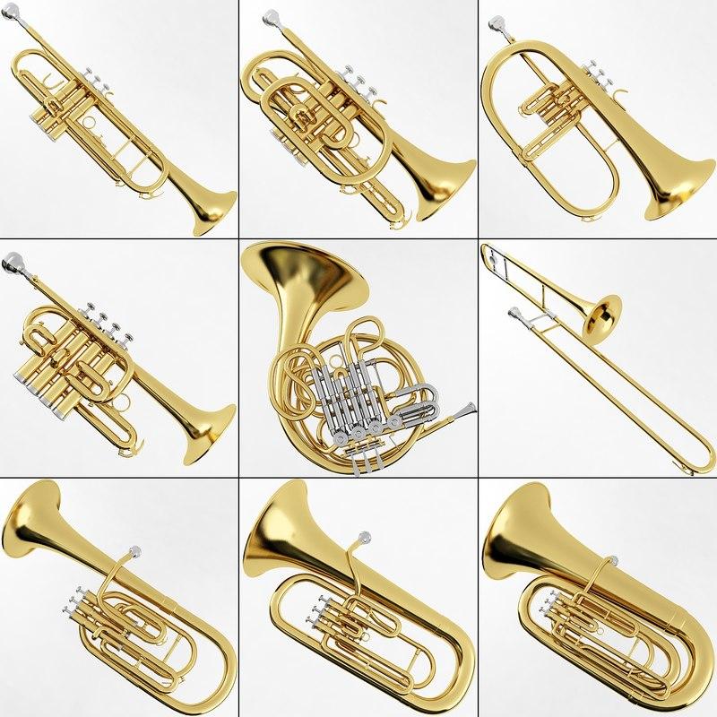3ds max brass musical instrument