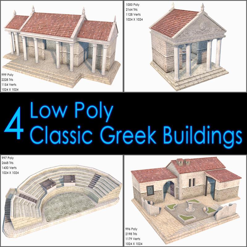 3d model classic greek buildings house