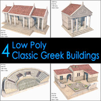 3d model classic greek buildings house