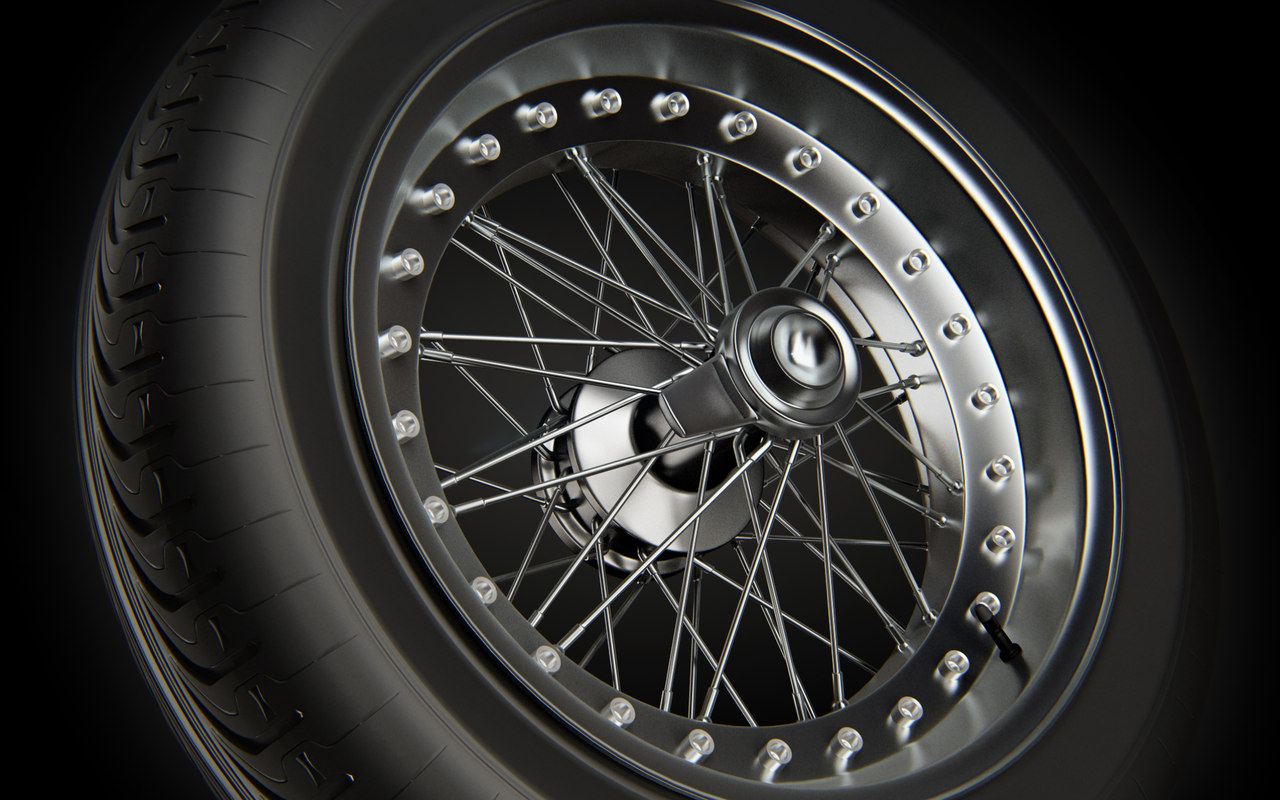 spoked wheel rim tire 3ds