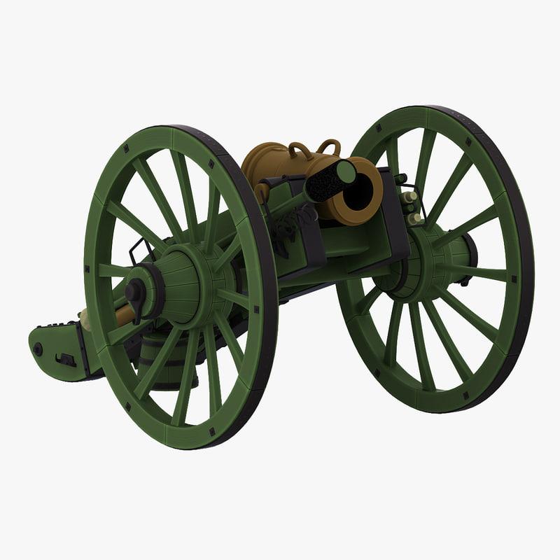 3d obj napoleons 6-inch gribeauval howitzer