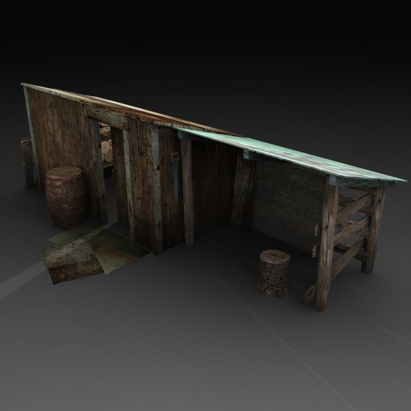 old wood 3d obj