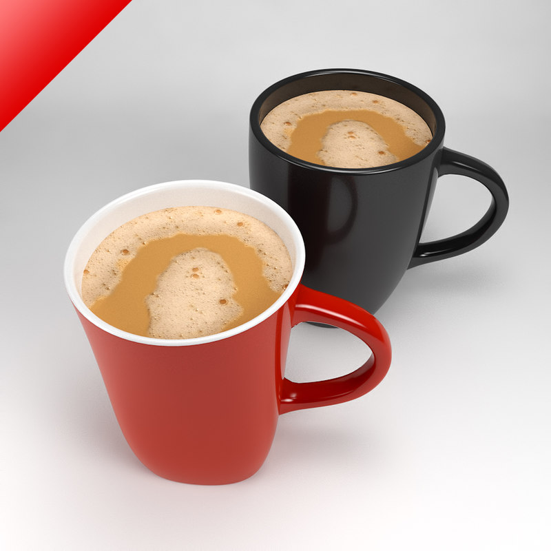 3d mugs filled foamy tea model