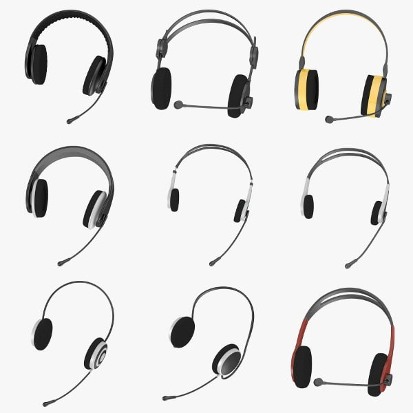 headphones microphones 3d model