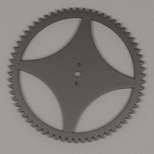 3d model clock gear wheel