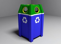 3d plastic recycle bin model