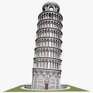 pisa tower leaning 3d c4d