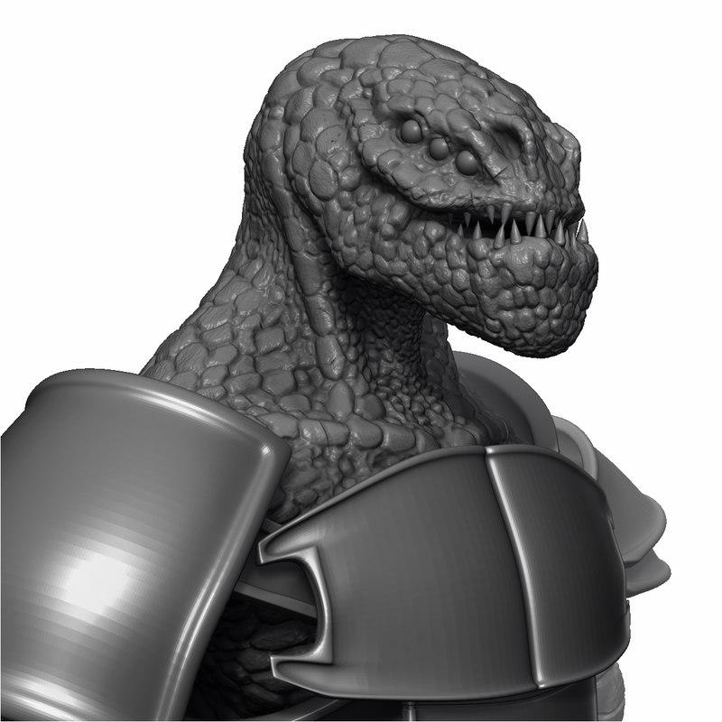 free creature warrior bust 3d model