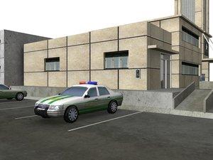 low-poly city block building 3d ma