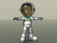 3d obj cartoon boy astronaut