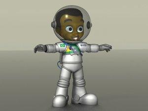 3d obj cartoon boy astronaut