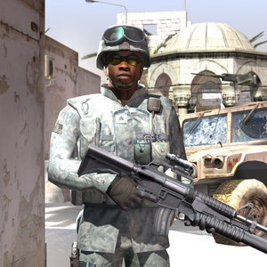 3d afro american soldier weapons