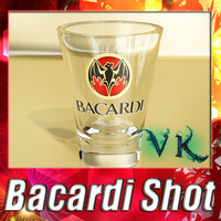 photorealistic bacardi shot glass 3d model