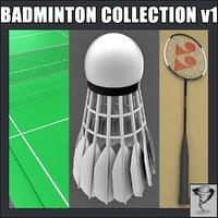 3d badminton racket shuttlecock