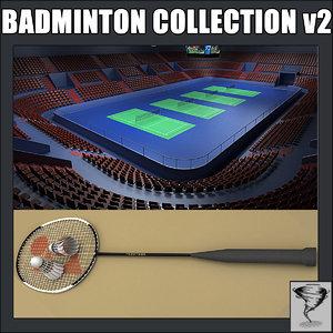 badminton racket shuttlecock obj