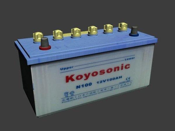 3d car battery 12 v model