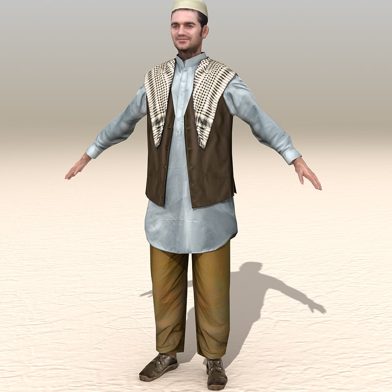 arab afghani casual 04 3d model