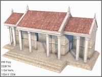 Classic Greek Palace, Low Poly, Textured