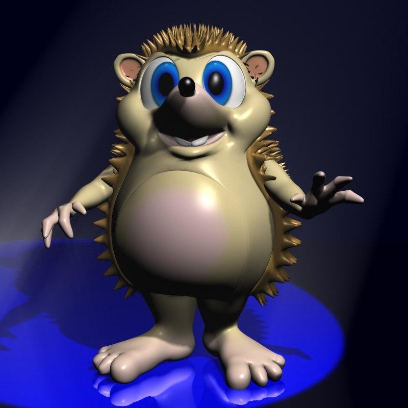 3d cute cartoon hedgehog rigged model